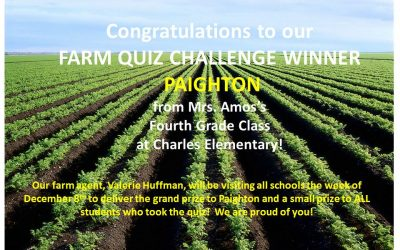 Farm Quiz Challenge Winner- Paighton from Charles Elementary